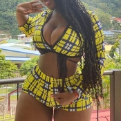 Lovely Trendy Grid Yellow Plus Size Two-piece Shor