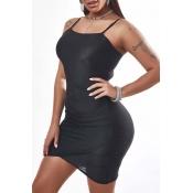 Lovely Sexy Asymmetrical Black Mini Dress