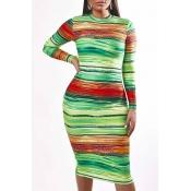 Lovely Trendy O Neck Striped Green Knee Length Dre