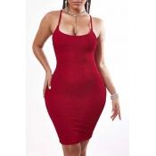 Lovely Sexy Basic Skinny Red Knee Length Dress