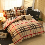 Lovely Cosy Grid Print Brown Bedding Set