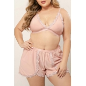 Lovely Sexy Lace Patchwork Dusty Pink Plus Size Sl