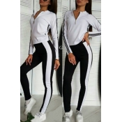 Lovely Trendy Patchwork White Loungewear