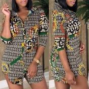 Lovely Casual Print Multicolor Mini Shirt Dress