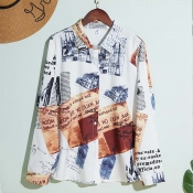 Lovely Stylish Turndown Collar Print White Shirt