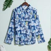 Lovely Trendy Cartoon Print Blue Shirt