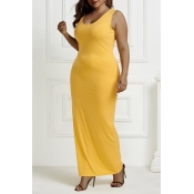 Lovely Casual U Neck Basic Yellow Ankle Length Plu