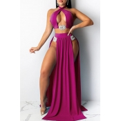 Lovely Cut-Out Rose Red Two-piece Swimsuit(Three-piece)