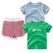Lovely Casual Striped Red Boy Two-piece Shorts Set