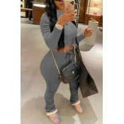 Lovely Casual Basic Skinny Grey Two-piece Pants Set