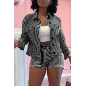 Lovely Trendy Striped Black Two-piece Shorts Set