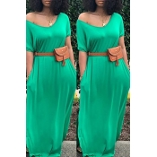 Lovely Casual Basic Green Maxi Dress