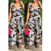 Lovely Leisure Print Grey One-piece Jumpsuit