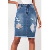 Lovely Casual Broken Holes Blue Skirt