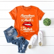 Lovely Casual Lip Print Orange Plus Size T-shirt