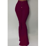 Lovely Stylish Buttons Design Wine Red Pants