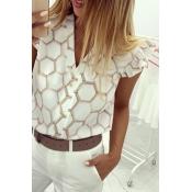 Lovely Trendy Print White Blouse
