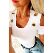 Lovely Trendy Hollow-out White T-shirt