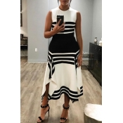 Lovely Casual Patchwork Black And White Ankle Leng