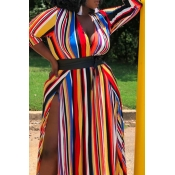 Lovely Casual Rainbow Striped Ankle Length Plus Si