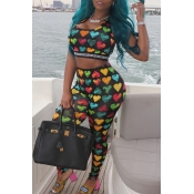 Lovely Casual Heart Print Black Two-piece Pants Se