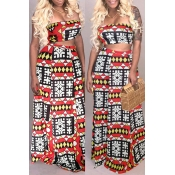 Lovely Bohemian Dew Shoulder Print Red Two-piece S