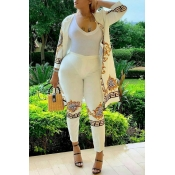 Lovely Leisure Print White Two-piece Pants Set