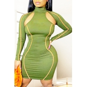 Lovely Trendy Hollow-out Green Knee Length Dress