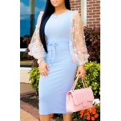 Lovely Trendy Patchwork Blue Mid Calf Dress
