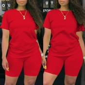 Lovely Casual Basic Red Plus Size Two-piece Shorts