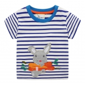 Lovely Casual Striped Blue Girl T-shirt