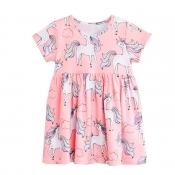 Lovely Casual Print Pink Girl Knee Length Dress