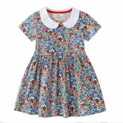 Lovely Sweet Floral Print Multicolor Girl Knee Len