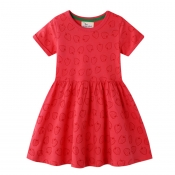 Lovely Trendy Fold Design Red Girl Knee Length Dre