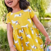 Lovely Sweet Cartoon Print Yellow Girl Knee Length