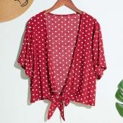 Lovely Trendy Dot Print Red Blouse