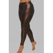 Lovely Sportswear Skinny Coffee Plus Size Pants