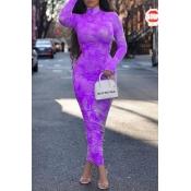 Lovely Trendy Print Purple Ankle Length Dress