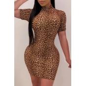 Lovely Trendy Print Brown Mini Dress
