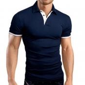 Lovely Chic Buttons Design Navy Blue Shirt