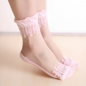 Lovely Sweet Patchwork Pink Socks