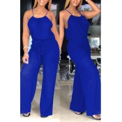 Lovely Sexy Lace-up Blue Plus Size One-piece Jumps