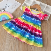Lovely Sweet Tie-dye Multicolor Girl Knee Length D