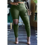 Lovely Trendy Hollow-out Army GreenJeans