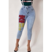 Lovely Casual Letter Blue Jeans