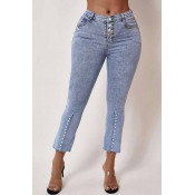 Lovely Vintage Pearl Decorative Blue Jeans