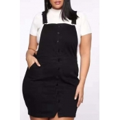 Lovely Casual Buttons Design Black Mini Plus Size