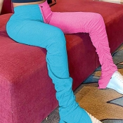 Lovely Casual Patchwork Pink Pants