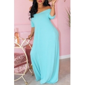 Lovely Casual Basic Skyblue Maxi Dress