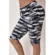 Lovely Street Camo Print Black Shorts
